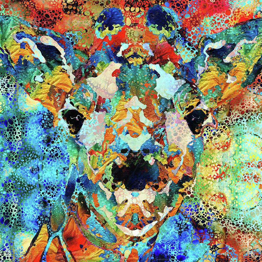 Giraffe Painting - Colorful Giraffe Art - Hidden Gem - Sharon Cummings by Sharon Cummings