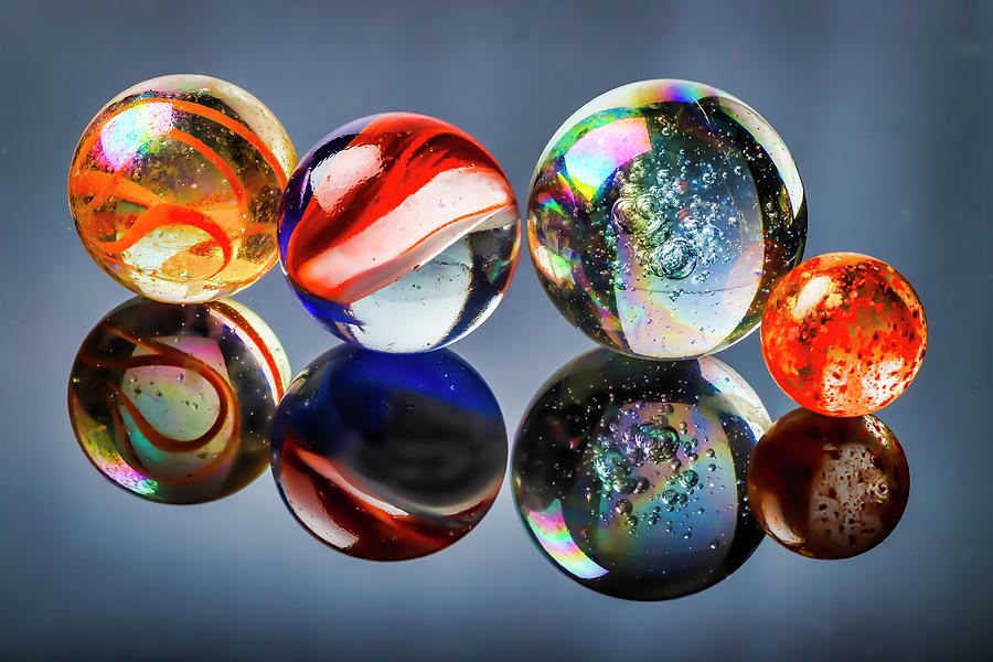 Colorful Glass Marble Reflections by Garry Gay
