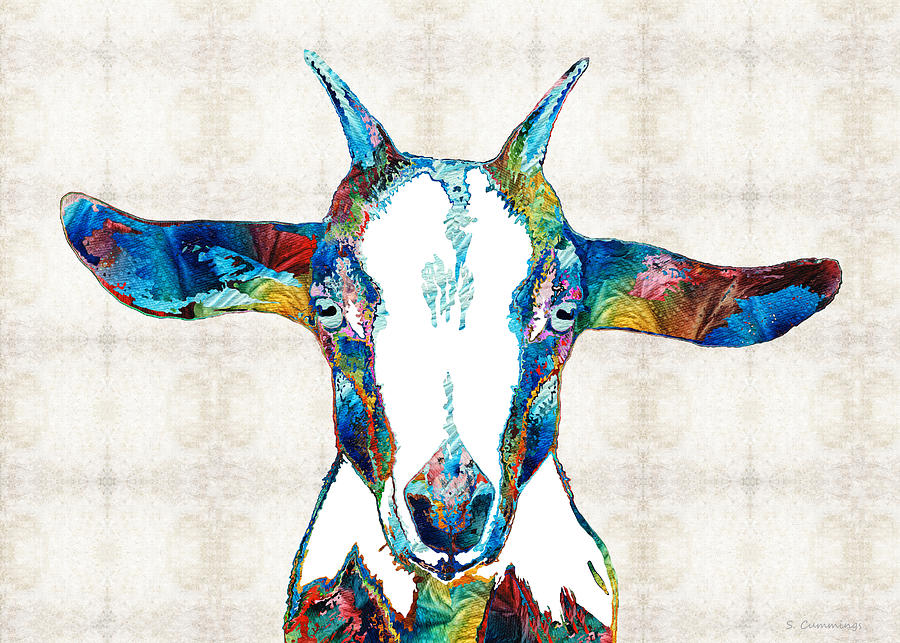 Goat Painting - Colorful Goat Art - Naughty And Nice - Sharon Cummings by Sharon Cummings