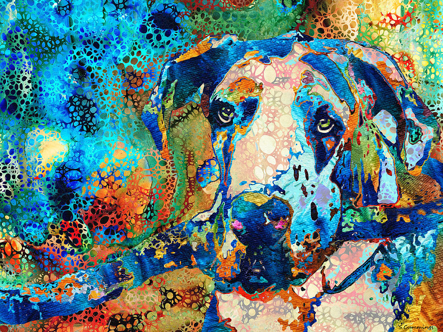 Great Dane Painting - Colorful Great Dane Dog Art - Hidden Gem by Sharon Cummings