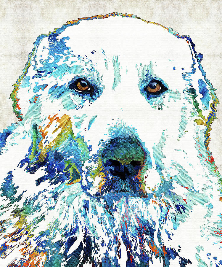 Great Painting - Colorful Great Pyrenees Dog Art - Sharon Cummings by Sharon Cummings