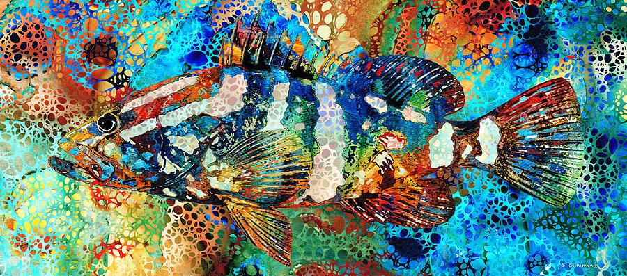 Fish Painting - Colorful Grouper 1 - Hidden Gem Art - Sharon Cummings by Sharon Cummings