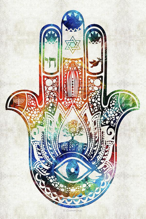 Hamsa Painting - Colorful Hamsa Hand - Jewish Art - Sharon Cummings by Sharon Cummings
