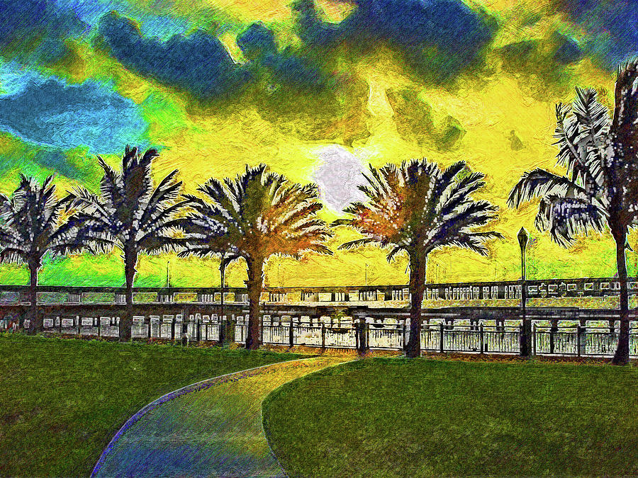 Colorful Harborside Sunset Impressionism by Island Hoppers Art