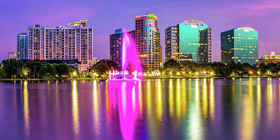 Colorful Lake Eola Fountain And Orlando Skyline Panorama Photograph