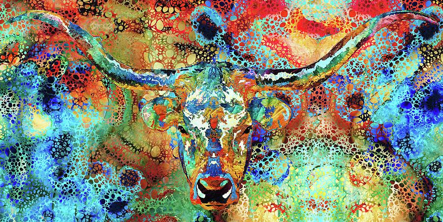 Cow Painting - Colorful Longhorn Cow Art - Hidden Gem by Sharon Cummings