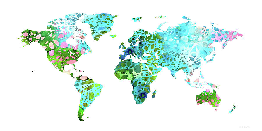 World Map Painting - Colorful Map - World Map 32 - Sharon Cummings by Sharon Cummings