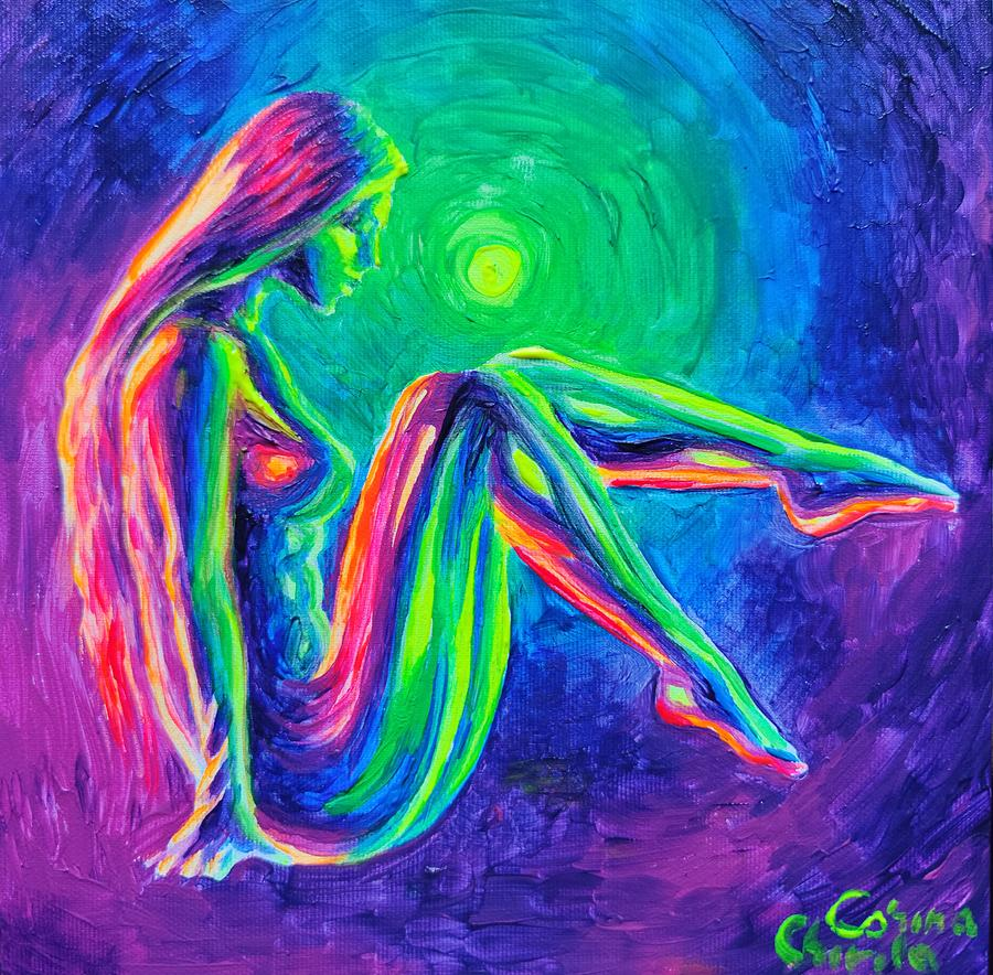 Nude Woman Painting - Colorful nude woman by Chirila Corina