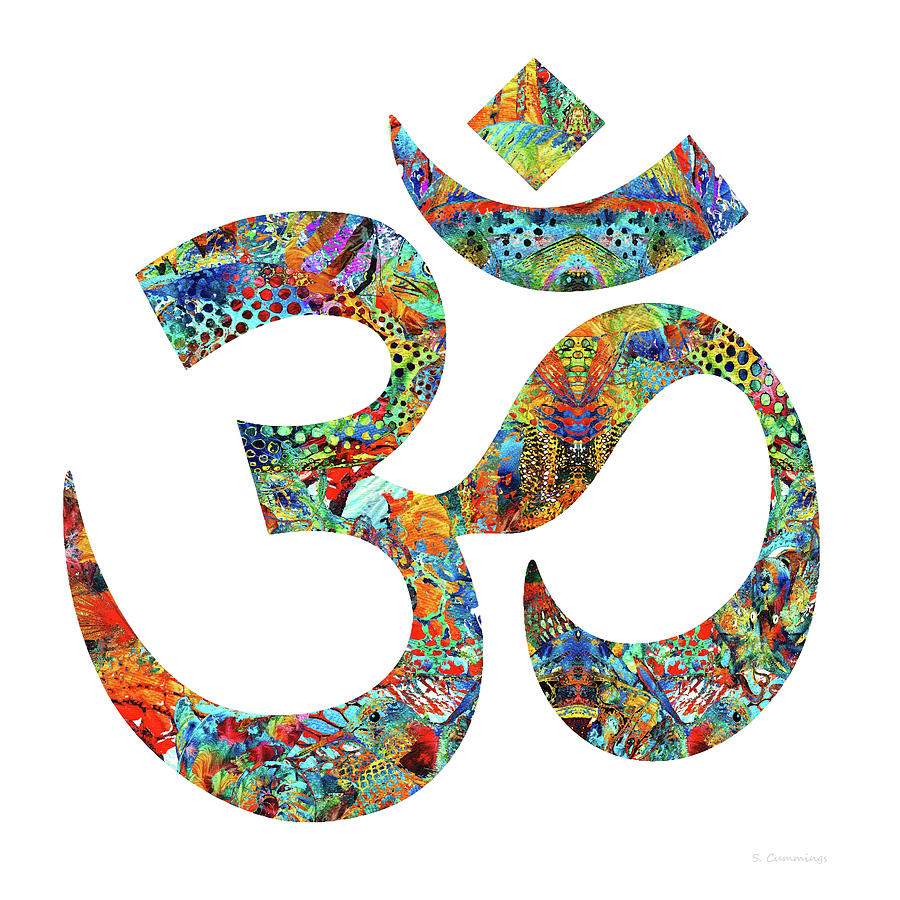 Yin Painting - Colorful Om 17 - Meditation Art - Sharon Cummings by Sharon Cummings