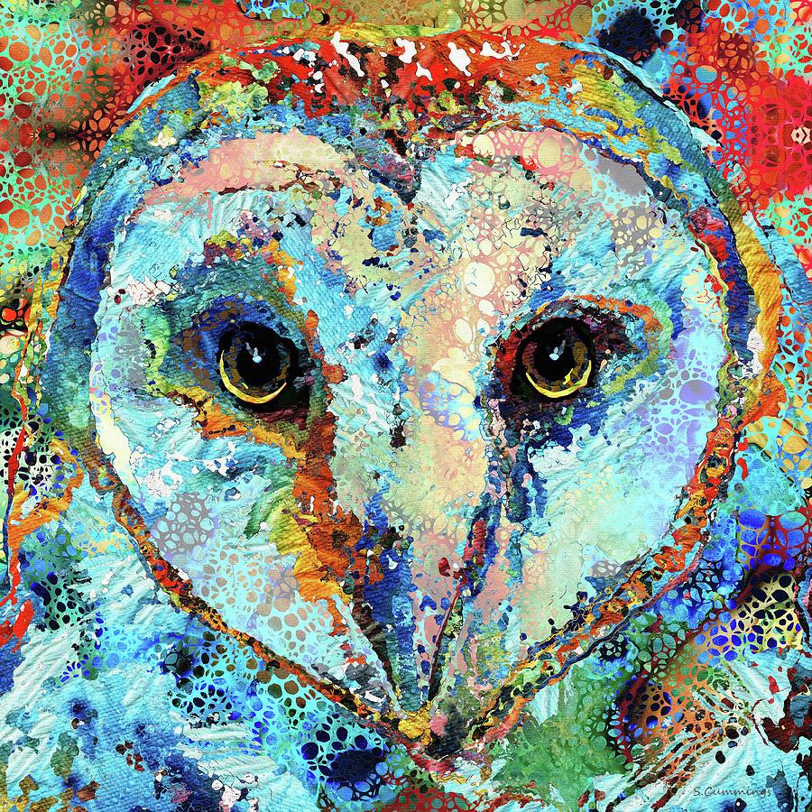 Owl Painting - Colorful Owl Art - Hidden Gem - Sharon Cummings by Sharon Cummings