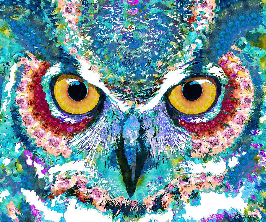 Owl Painting - Colorful Owl Art - Spirit Animal - Sharon Cummings by Sharon Cummings