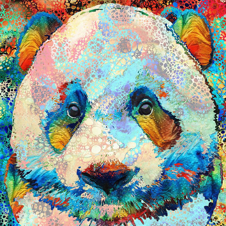 Panda Painting - Colorful Panda Bear - Hidden Gem - Sharon Cummings by Sharon Cummings
