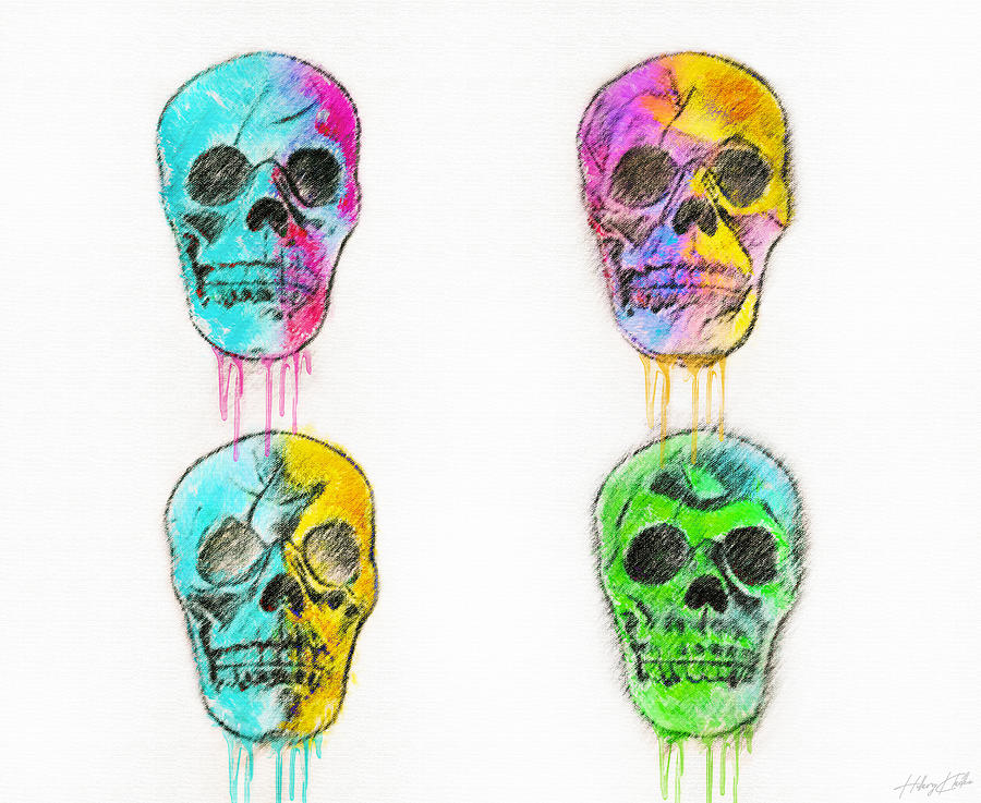 Colorful Pastel Skulls Mixed Media