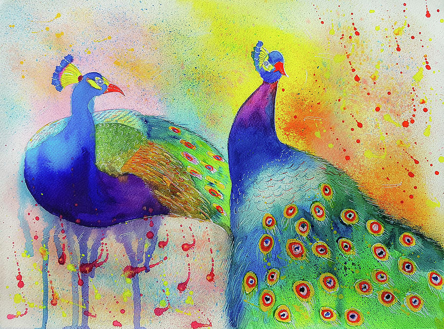 Peacock Painting - Colorful Peacocks by Varshas Creations