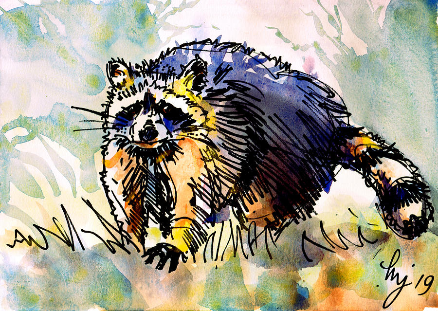 Colorful Raccoon painting by Mike Jory