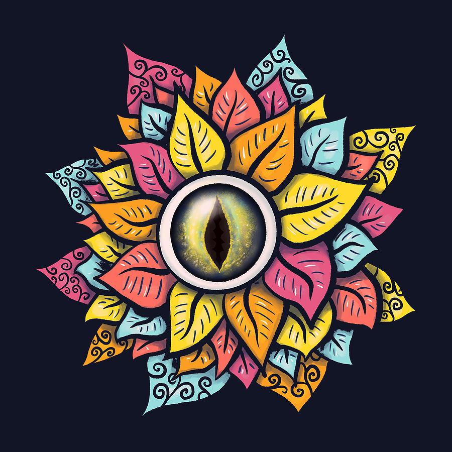 Colorful Reptile Eye Flower Trippy Surreal Art Digital Art