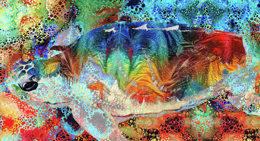 Sea Turtle Painting - Colorful Sea Turtle Art - Hidden Gem by Sharon Cummings
