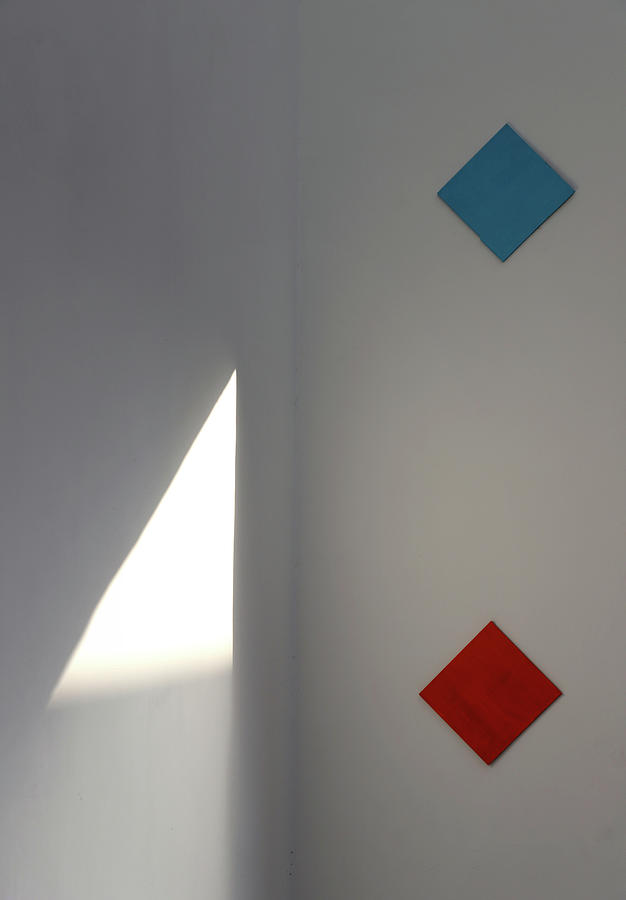 Minimalism Photograph - Colorful Squares Vs Light Triangle by Prakash Ghai
