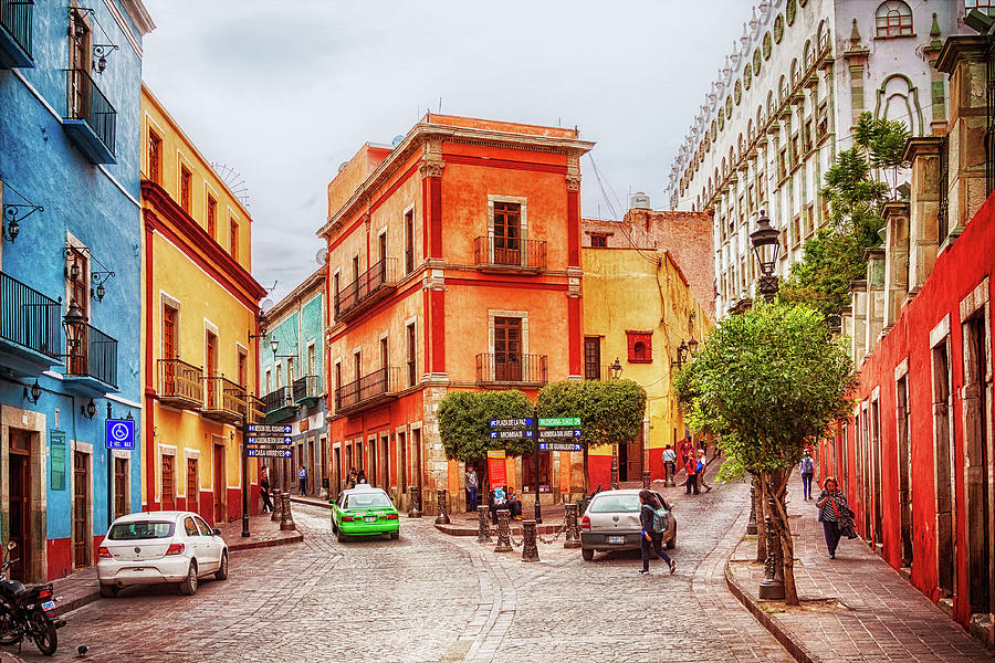 Guanajuato Photograph - Colorful street in Guanajuato, Mexico by Tatiana Travelways