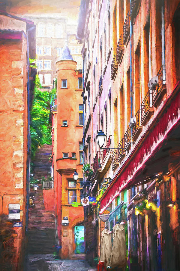 Colorful Street Scenes Of Vieux Lyon France Photograph