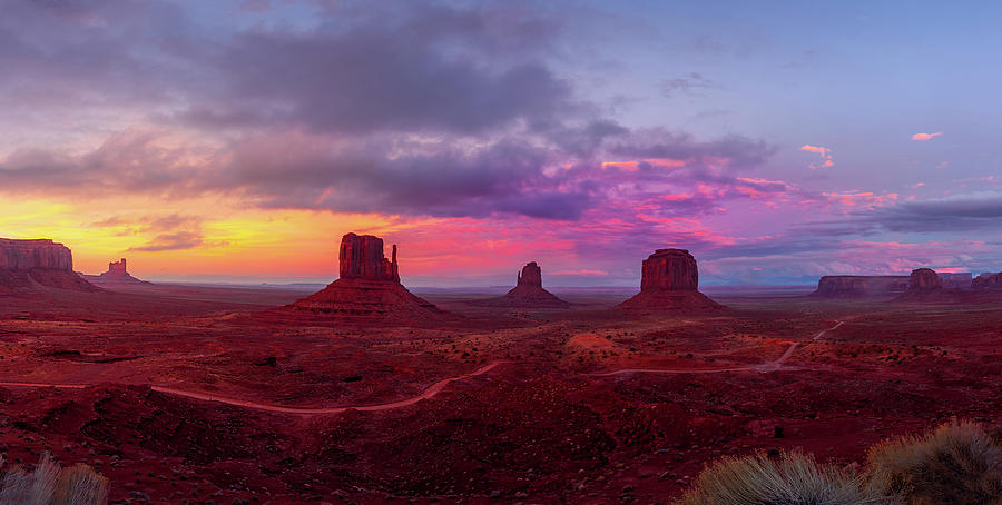 Colorful Sunset Over Monument Valley Photograph
