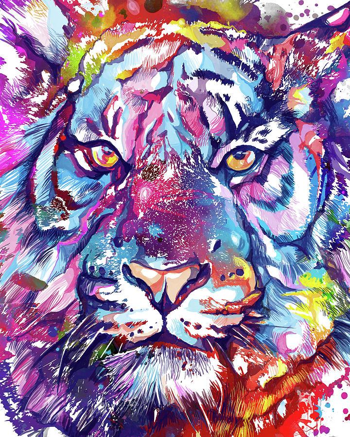 Colorful Tiger Face V2 Digital Art