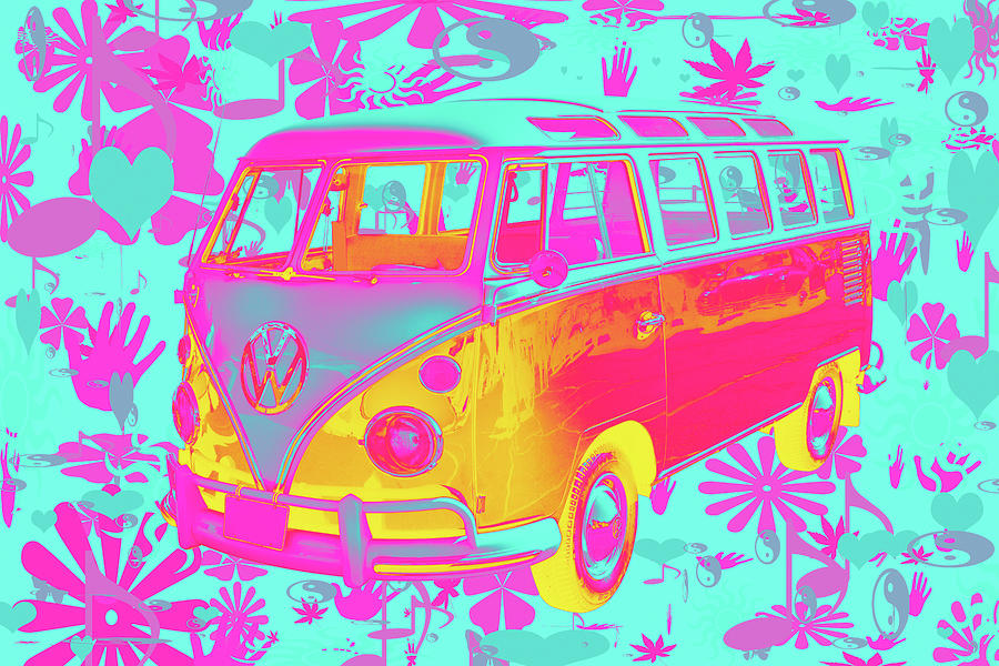 Colorful Vw 21 Window Mini Bus Pop Art Image Photograph