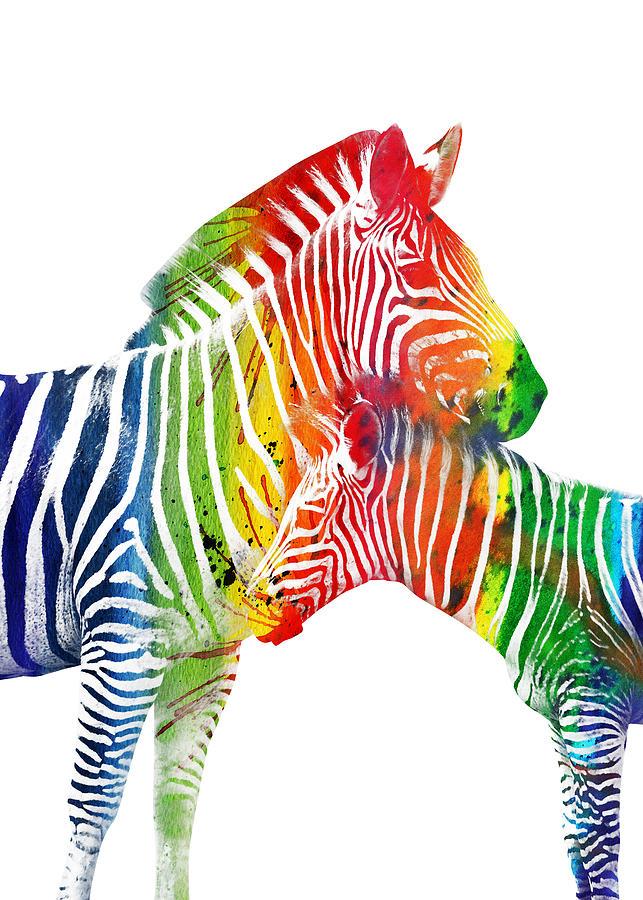 Colorful Watercolor Zebras Digital Art