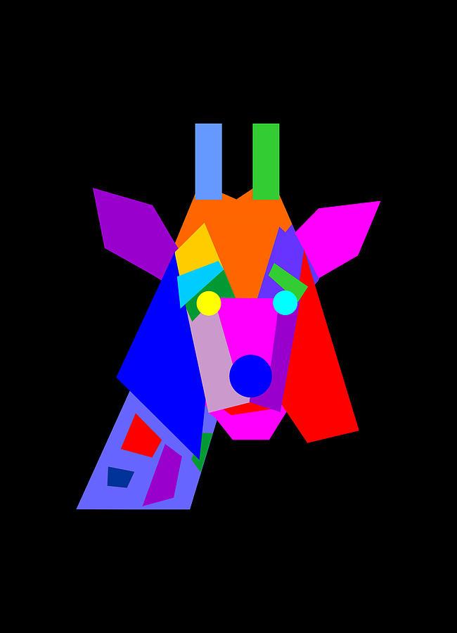 Colorful Weird Giraffe Geometric Wpap Pop Art Style Digital Art