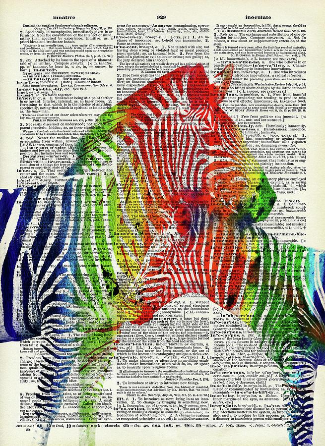 Colorful Zebras Dictionary Art Digital Art