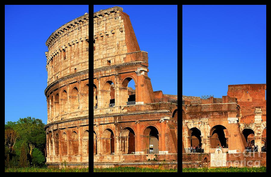 Coliseum Photograph - Colosseum Colors Triptych by Stefano Senise