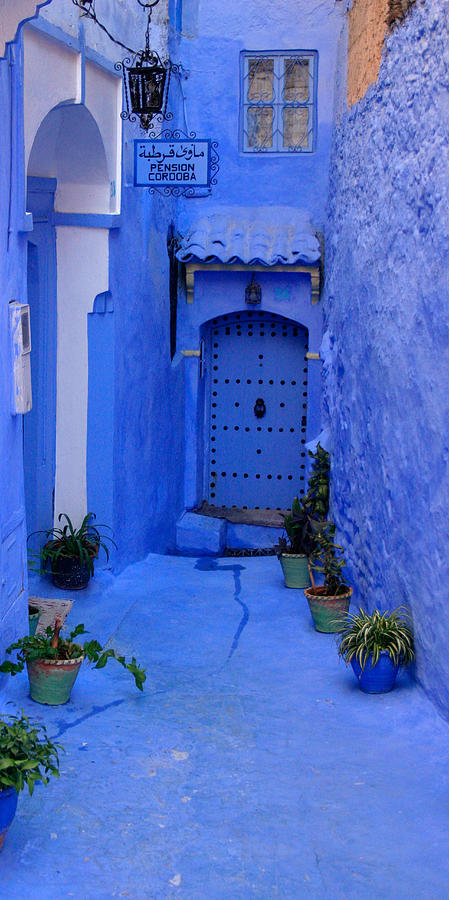 Architecture Photograph - Colourful Blue Side Alley with Hotel Entry Door Chefchaouen Morocco by PIXELS  XPOSED Ralph A Ledergerber Photography