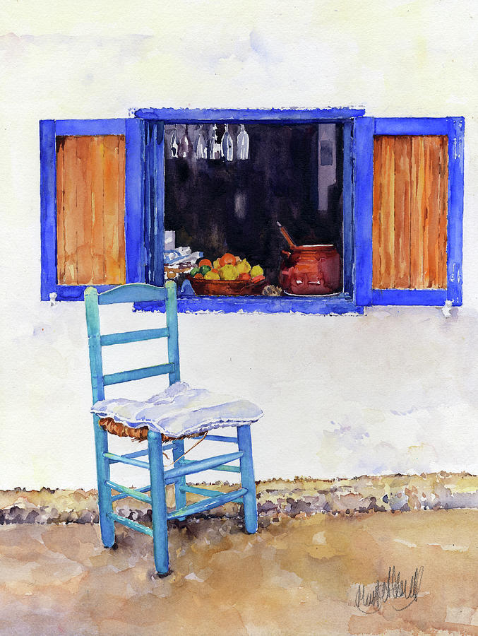 Window Painting - Colourful Corner in Las Negras by Margaret Merry