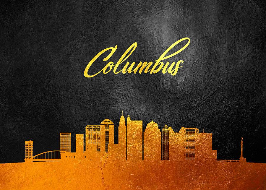 Columbus Ohio Gold Skyline Digital Art