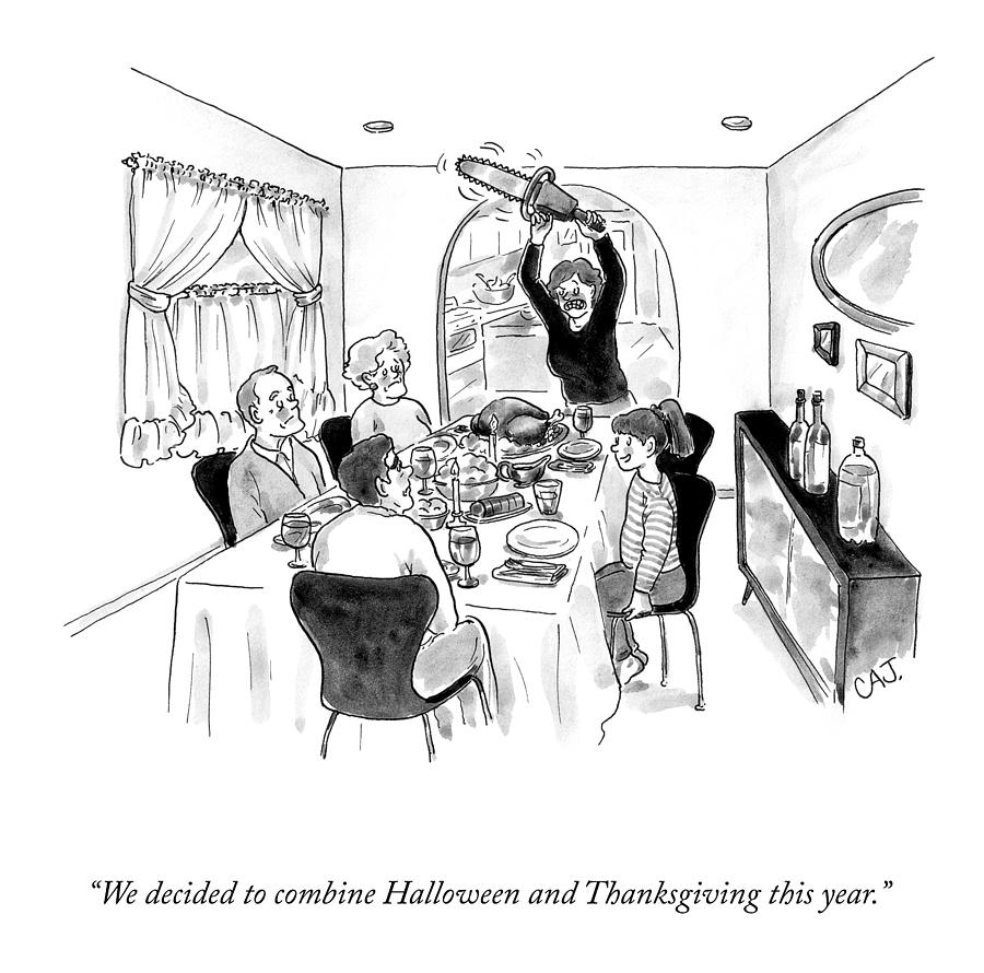 Combined Halloween And Thanksgiving Drawing by Carolita Johnson