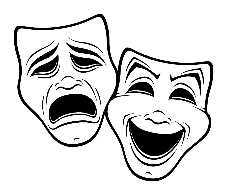 Comedy And Tragedy Theater Masks Black Line Digital Art