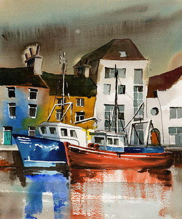 Comercial Docks Galway Citie by Val Byrne