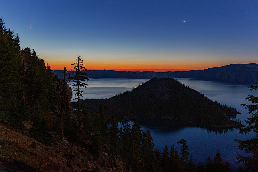 Comet Neowise At Crater Lake Photograph