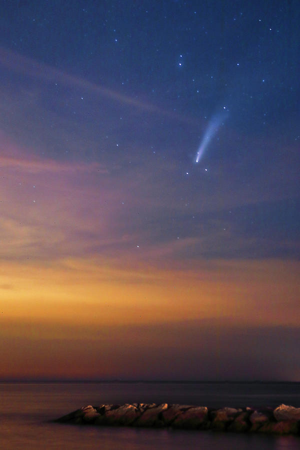 Comet Neowise Over Rock Harbor And Cape Cod Bay Photograph