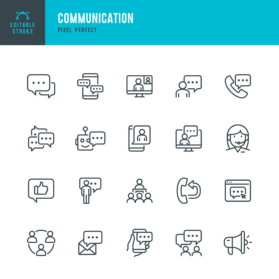 COMMUNICATION - thin line vector icon set. Pixel perfect. Editable stroke. The set contains icons: Speech Bubble, Communication, Application Form, Contact Us, Blogging, Community. Drawing by Fonikum