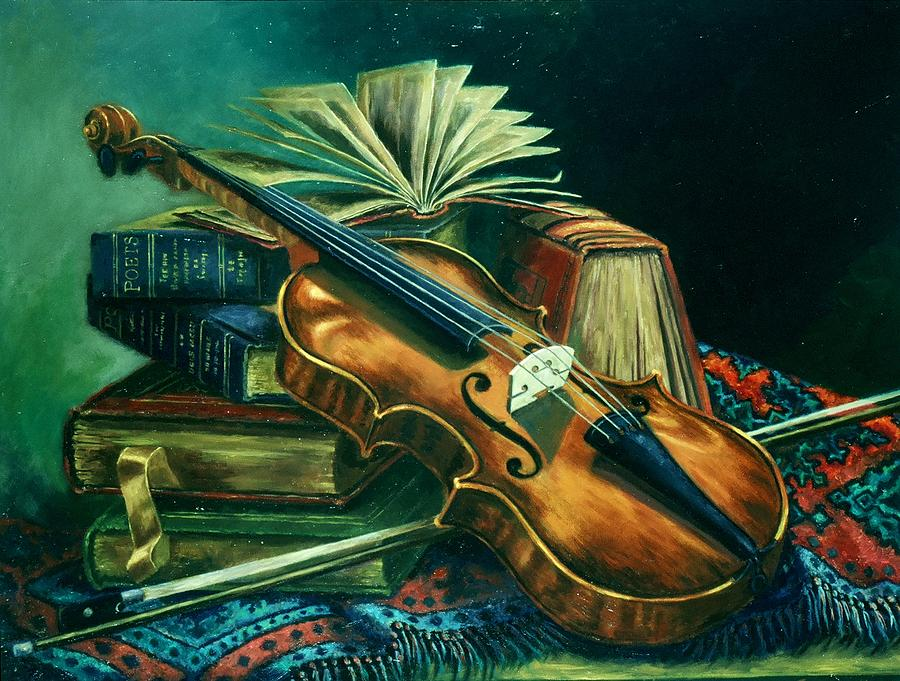 Violin Still Life Painting - Companions by Ruth Stromswold