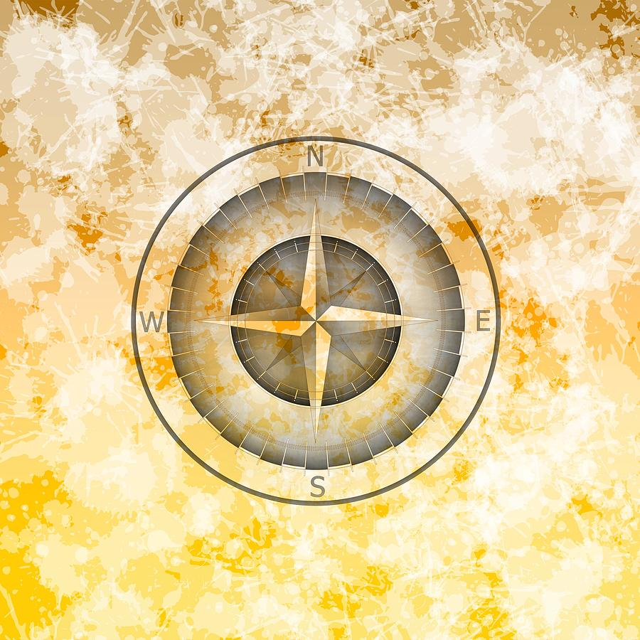 Compass Shadows Over Stains And Gold Digital Art