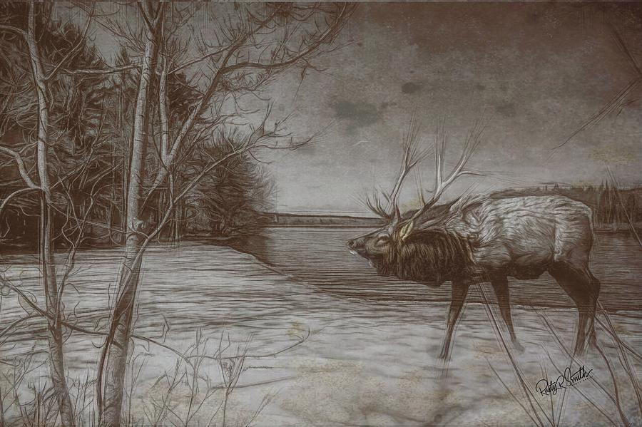 Composite Art Photograph of Bull Elk on Ice. by Rusty R Smith