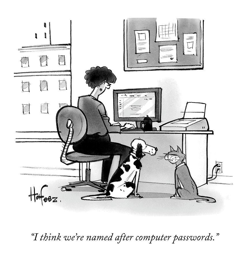 Computer Passwords Drawing by Kaamran Hafeez and Al Batt