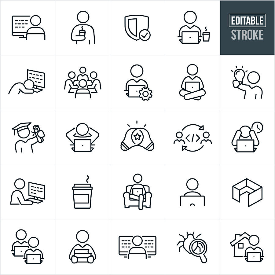 Computer Programing Thin Line Icons - Editable Stroke Drawing by Appleuzr