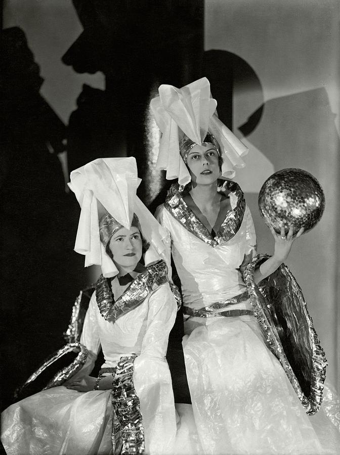 Comtesse Elie de Gaigneron and Mlle Aymone de Faucigny-Lucinge in Costume Photograph by Barre