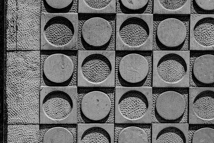 Concrete Exterior Wall With Circles Photograph