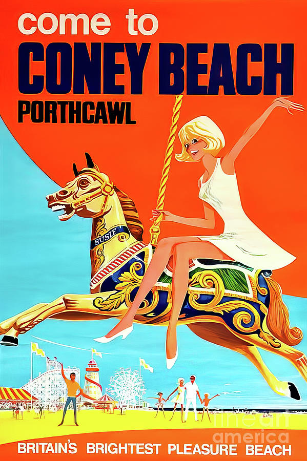 Coney Beach Porthcawl Britain Poster 1968 Drawing