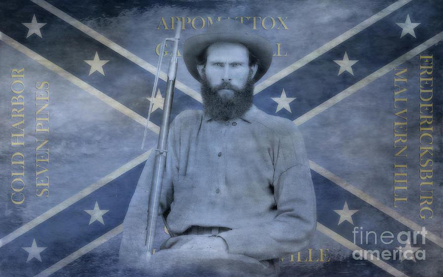 Confederate Veteran Confederate Flag Two Digital Art