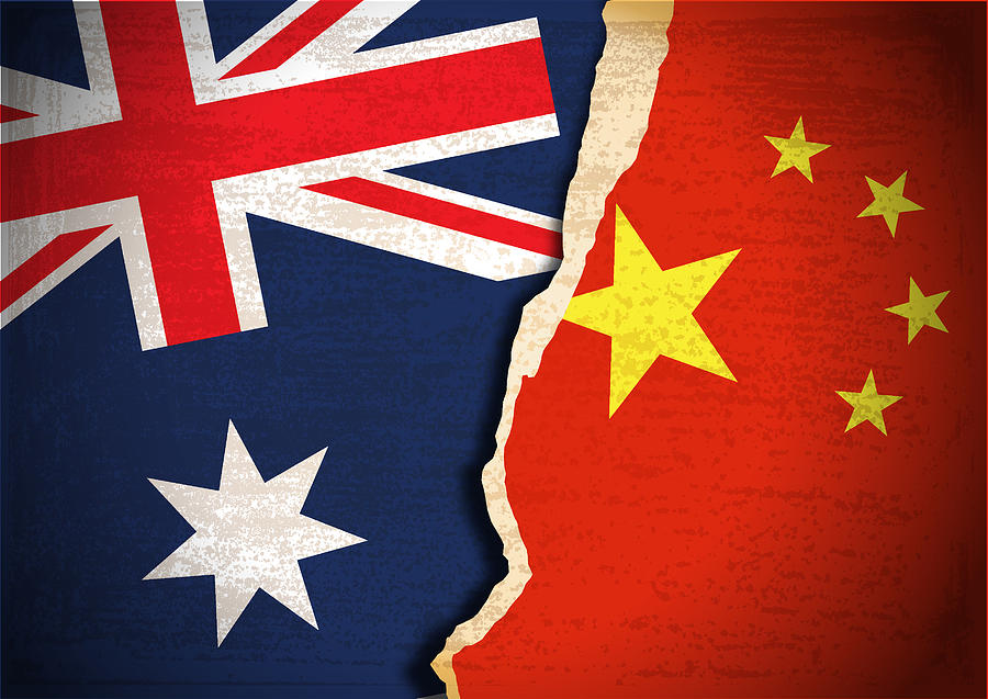 Conflict concept of Australia and China flag Drawing by Simon2579